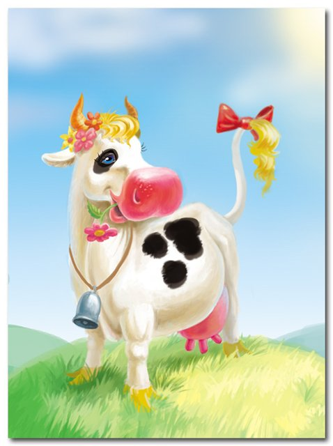 Пацанов, открытка с коровой